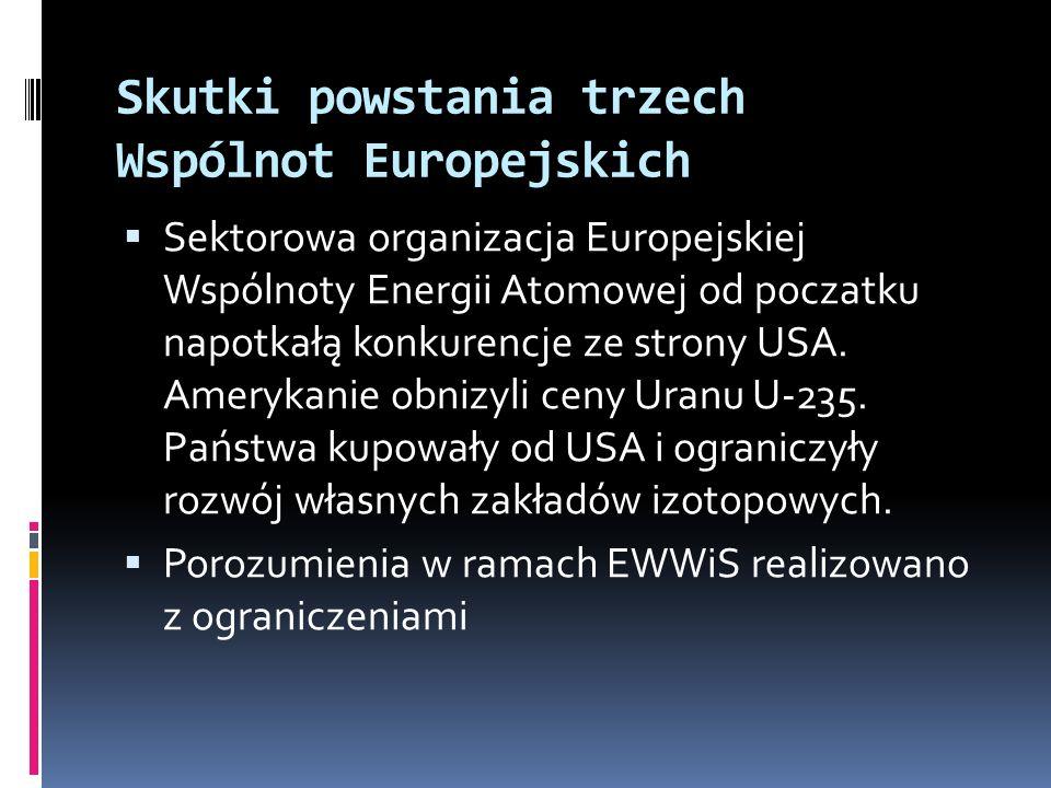 Skutki powstania trzech Wspólnot Europejskich Sektorowa organizacja Europejskiej Wspólnoty Energii Atomowej od poczatku napotkałą konkurencje ze stron