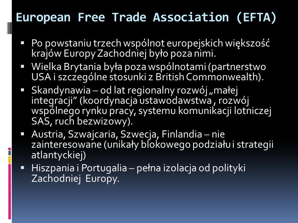 European Free Trade Association (EFTA) Po powstaniu trzech wspólnot europejskich większość krajów Europy Zachodniej było poza nimi. Wielka Brytania by