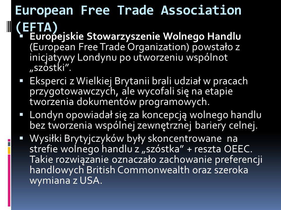European Free Trade Association (EFTA) Europejskie Stowarzyszenie Wolnego Handlu (European Free Trade Organization) powstało z inicjatywy Londynu po u