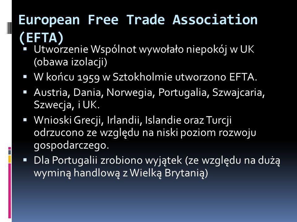 European Free Trade Association (EFTA) Utworzenie Wspólnot wywołało niepokój w UK (obawa izolacji) W końcu 1959 w Sztokholmie utworzono EFTA. Austria,