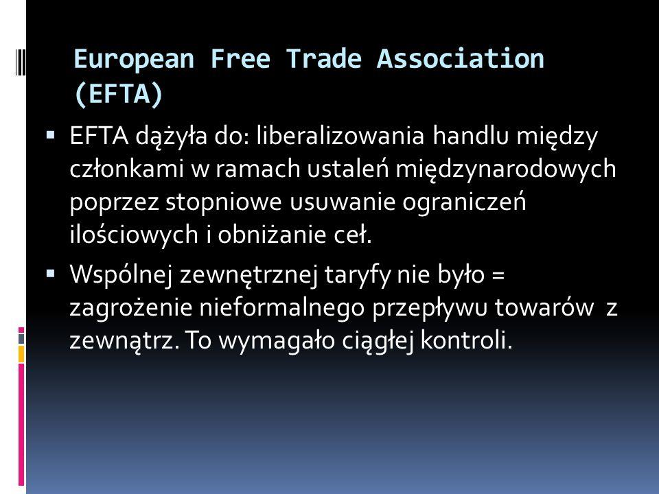 European Free Trade Association (EFTA) EFTA dążyła do: liberalizowania handlu między członkami w ramach ustaleń międzynarodowych poprzez stopniowe usu