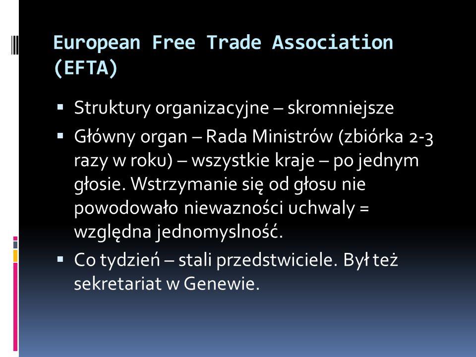 European Free Trade Association (EFTA) Struktury organizacyjne – skromniejsze Główny organ – Rada Ministrów (zbiórka 2-3 razy w roku) – wszystkie kraj