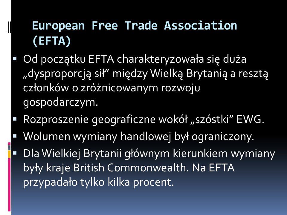 European Free Trade Association (EFTA) Od początku EFTA charakteryzowała się duża dysproporcją sił między Wielką Brytanią a resztą członków o zróżnico