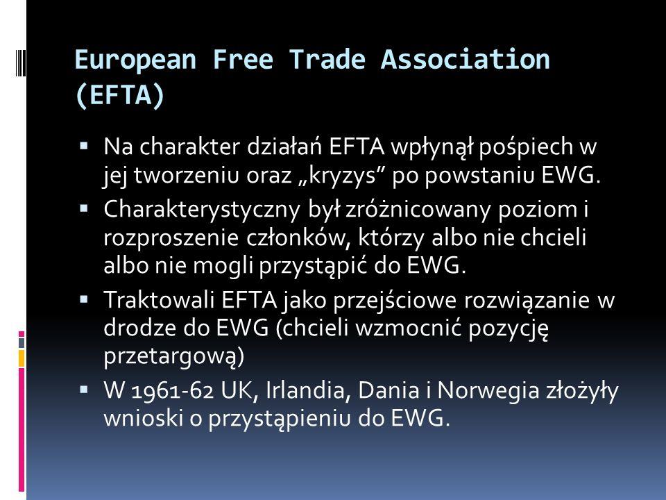 European Free Trade Association (EFTA) Na charakter działań EFTA wpłynął pośpiech w jej tworzeniu oraz kryzys po powstaniu EWG. Charakterystyczny był