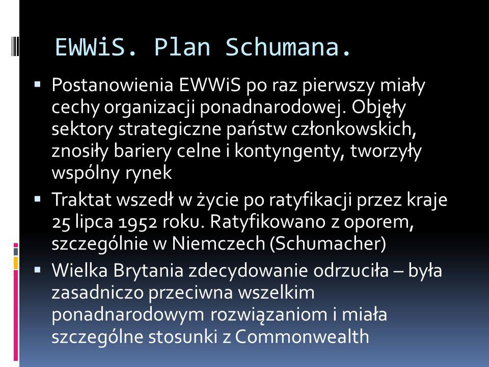 Cele EWWiS Wspólny rynek węgla i stali=specjalizacja, większą wydajność produkcji.