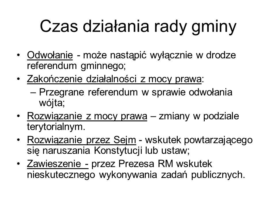 Czas działania rady gminy Odwołanie - może nastąpić wyłącznie w drodze referendum gminnego; Zakończenie działalności z mocy prawa: –Przegrane referend