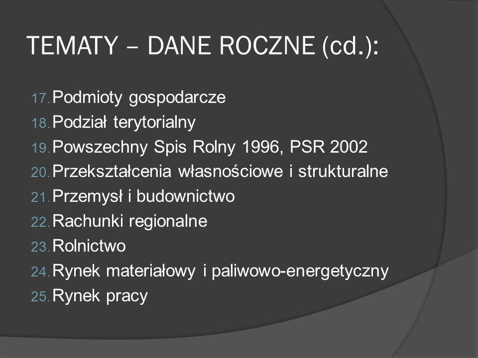 TEMATY – DANE ROCZNE (cd.): 17. Podmioty gospodarcze 18. Podział terytorialny 19. Powszechny Spis Rolny 1996, PSR 2002 20. Przekształcenia własnościow