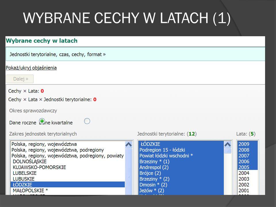 WYBRANE CECHY W LATACH (1)