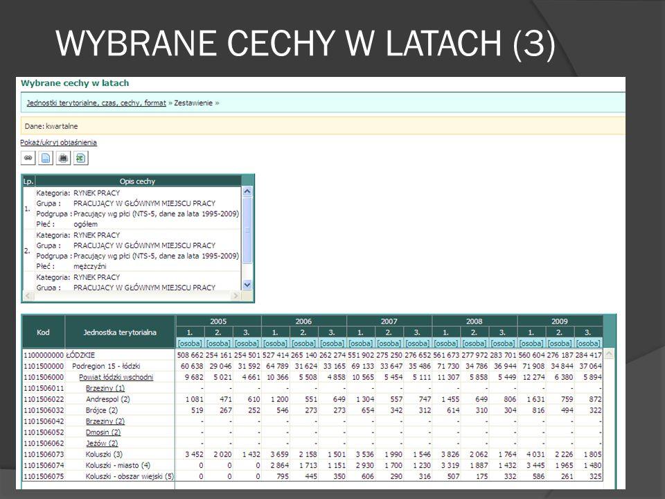 WYBRANE CECHY W LATACH (3)