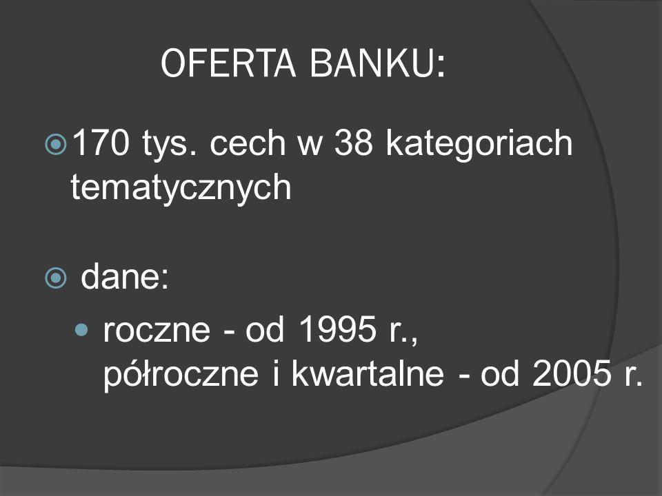 OFERTA BANKU: 170 tys. cech w 38 kategoriach tematycznych dane: roczne - od 1995 r., półroczne i kwartalne - od 2005 r.