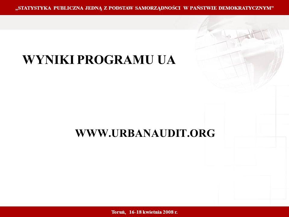 Proprietary and Confidential 14 WYNIKI PROGRAMU UA WWW.URBANAUDIT.ORG STATYSTYKA PUBLICZNA JEDNĄ Z PODSTAW SAMORZĄDNOŚCI W PAŃSTWIE DEMOKRATYCZNYM Toruń, 16-18 kwietnia 2008 r.