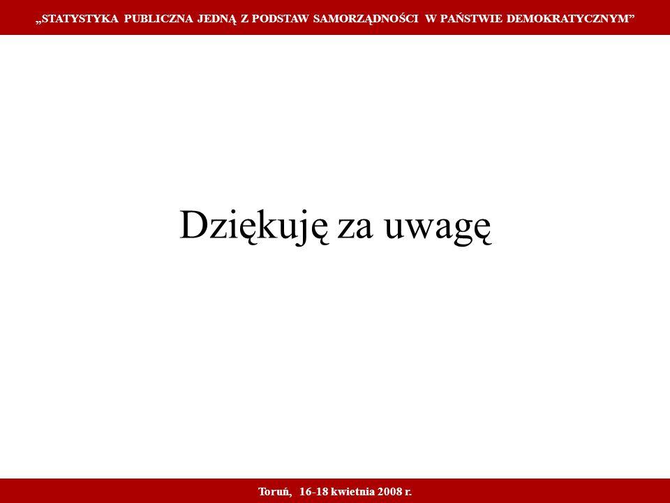 Dziękuję za uwagę STATYSTYKA PUBLICZNA JEDNĄ Z PODSTAW SAMORZĄDNOŚCI W PAŃSTWIE DEMOKRATYCZNYM Toruń, 16-18 kwietnia 2008 r.