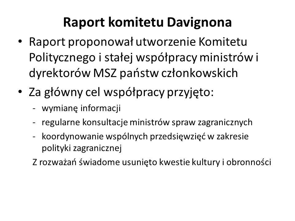 Raport komitetu Davignona Raport proponował utworzenie Komitetu Politycznego i stałej współpracy ministrów i dyrektorów MSZ państw członkowskich Za gł