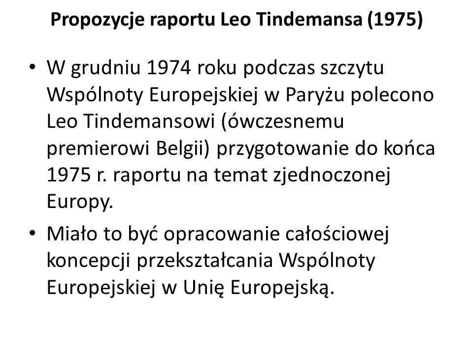 Propozycje raportu Leo Tindemansa (1975) W grudniu 1974 roku podczas szczytu Wspólnoty Europejskiej w Paryżu polecono Leo Tindemansowi (ówczesnemu pre
