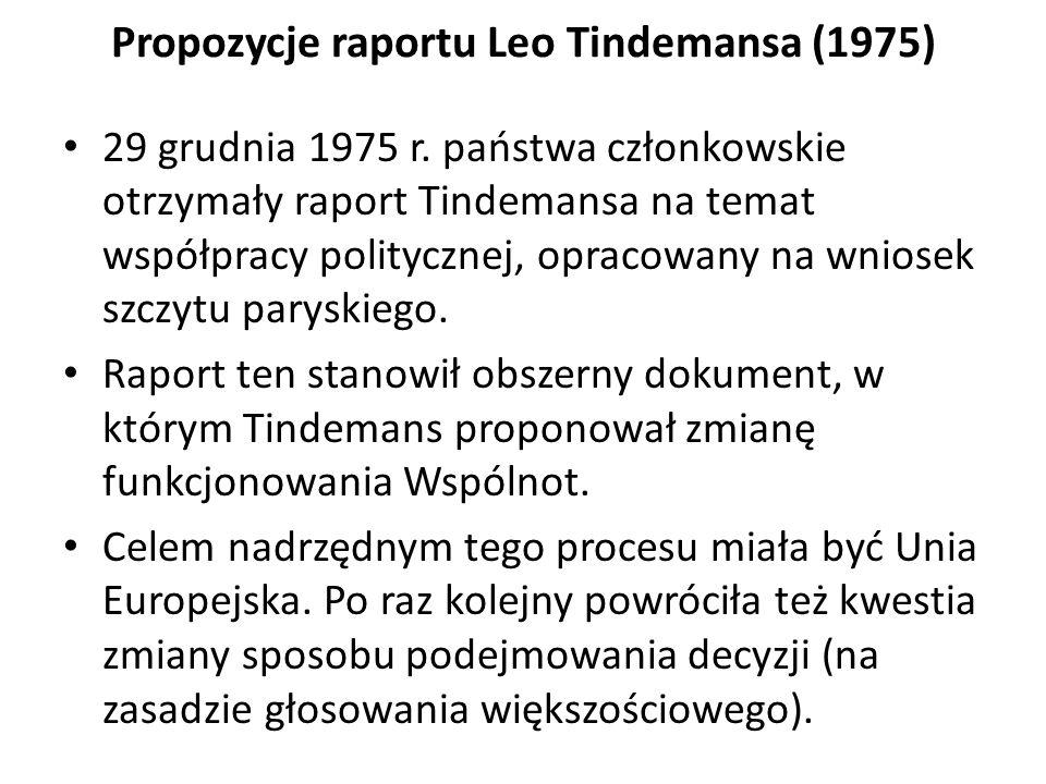 Propozycje raportu Leo Tindemansa (1975) 29 grudnia 1975 r. państwa członkowskie otrzymały raport Tindemansa na temat współpracy politycznej, opracowa