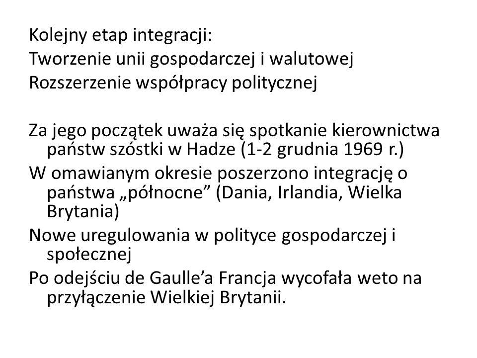 Kolejny etap integracji: Tworzenie unii gospodarczej i walutowej Rozszerzenie współpracy politycznej Za jego początek uważa się spotkanie kierownictwa