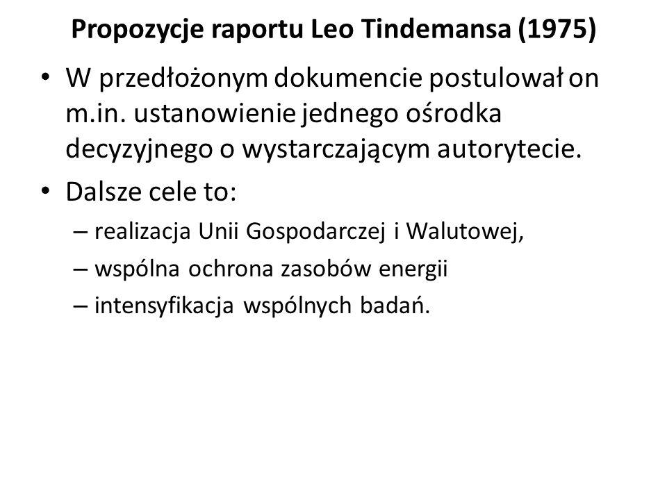 Propozycje raportu Leo Tindemansa (1975) W przedłożonym dokumencie postulował on m.in. ustanowienie jednego ośrodka decyzyjnego o wystarczającym autor