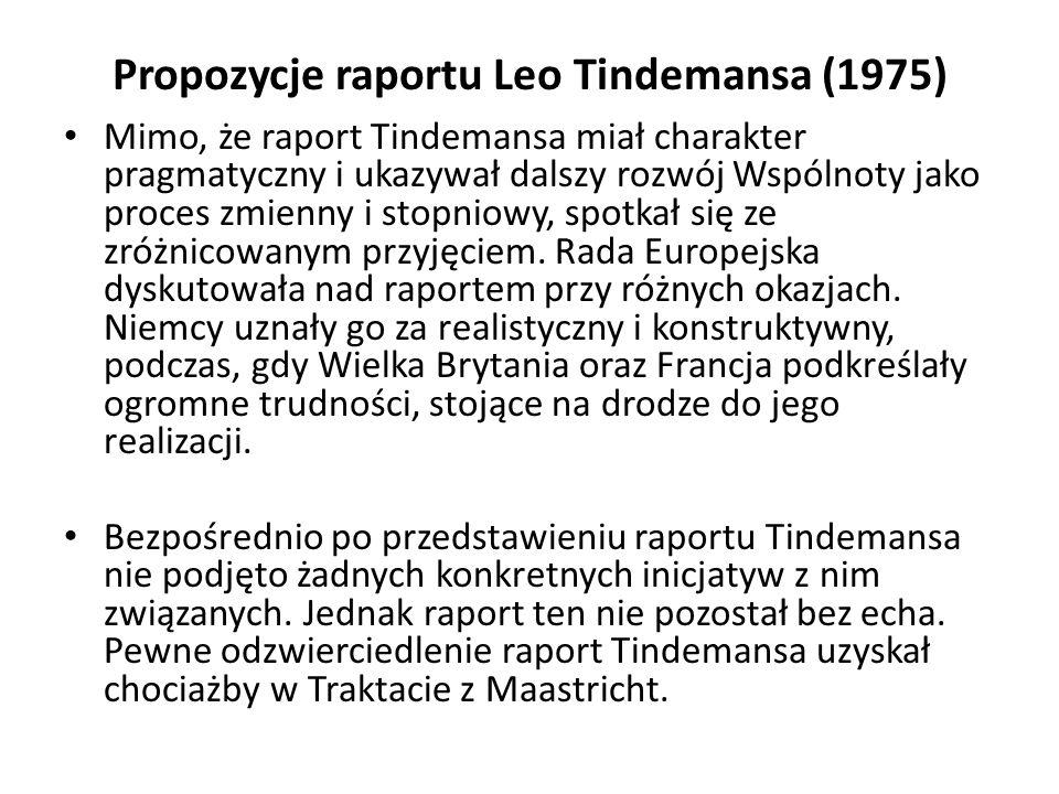 Propozycje raportu Leo Tindemansa (1975) Mimo, że raport Tindemansa miał charakter pragmatyczny i ukazywał dalszy rozwój Wspólnoty jako proces zmienny