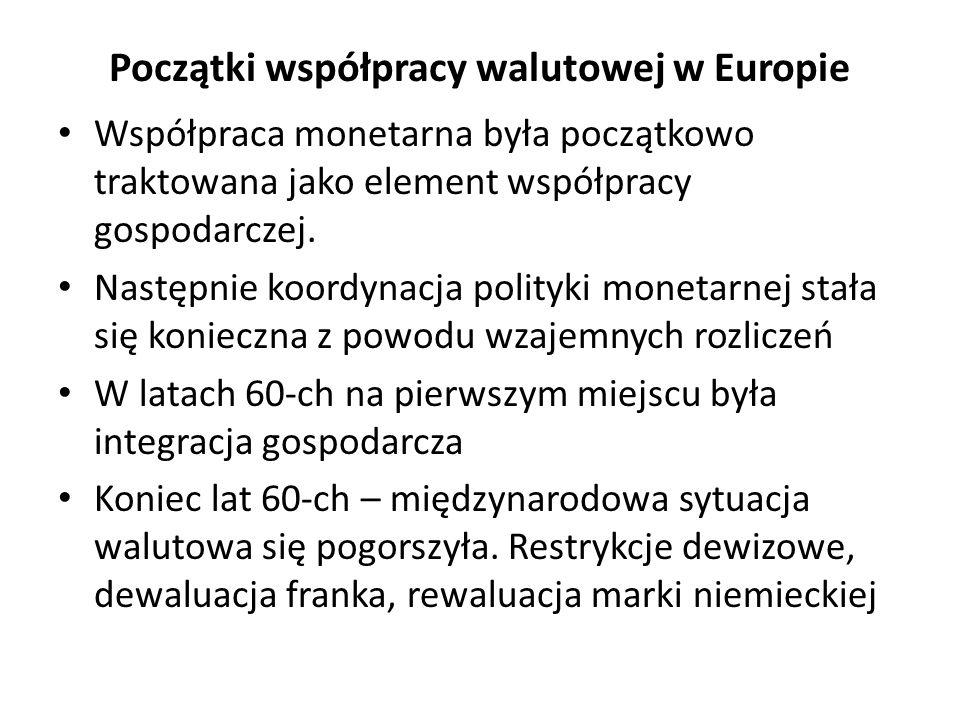 Początki współpracy walutowej w Europie Współpraca monetarna była początkowo traktowana jako element współpracy gospodarczej. Następnie koordynacja po