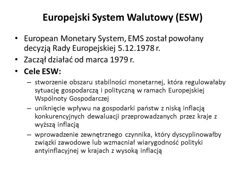 Europejski System Walutowy (ESW) European Monetary System, EMS został powołany decyzją Rady Europejskiej 5.12.1978 r. Zaczął działać od marca 1979 r.