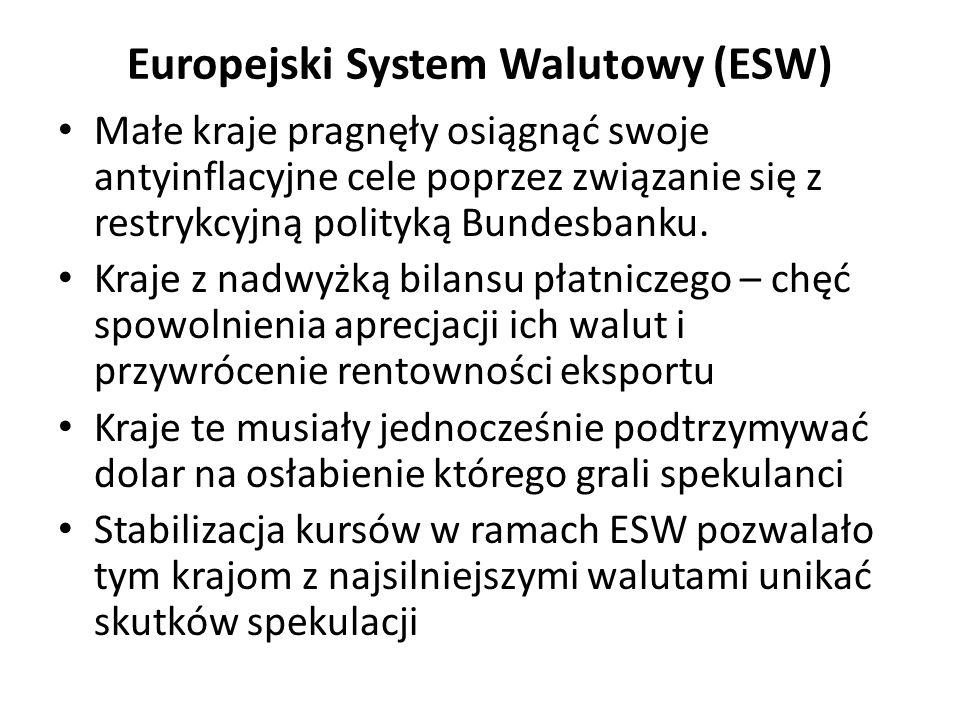 Europejski System Walutowy (ESW) Małe kraje pragnęły osiągnąć swoje antyinflacyjne cele poprzez związanie się z restrykcyjną polityką Bundesbanku. Kra