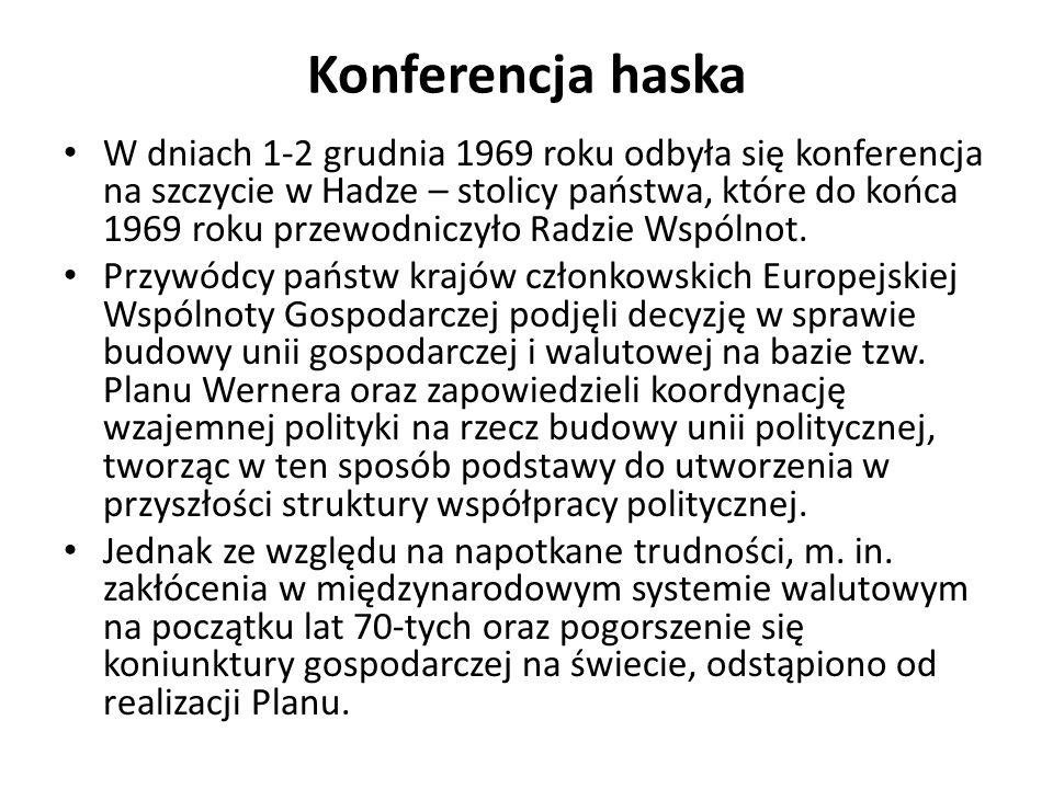 Początki współpracy walutowej w Europie Podjęto próby stworzenia mechanizmu walutowego, który uniezależniłby ceny (głownie rolnych artykułów) od wahań kursowych Pierwsza forma integracji – wąż walutowy.