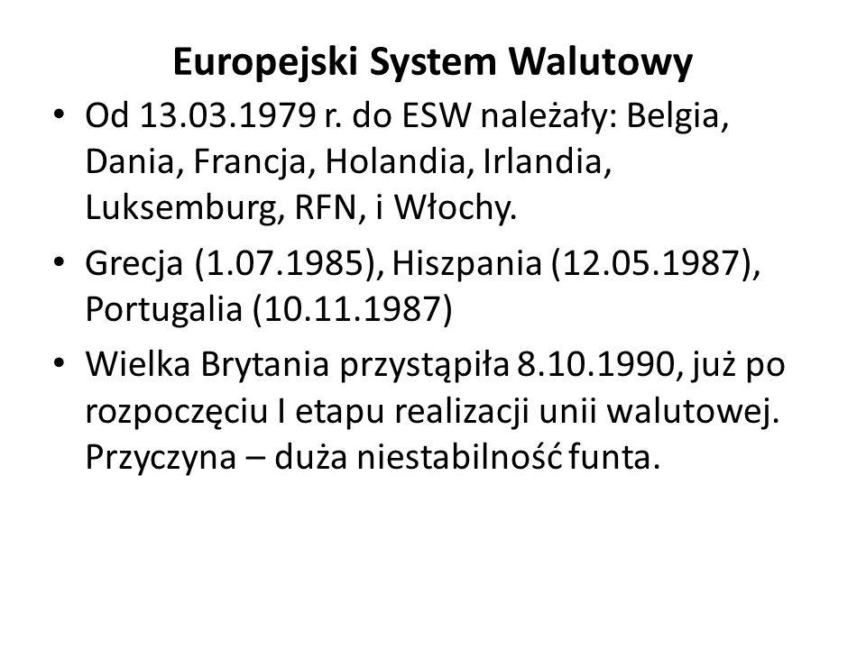 Europejski System Walutowy Od 13.03.1979 r. do ESW należały: Belgia, Dania, Francja, Holandia, Irlandia, Luksemburg, RFN, i Włochy. Grecja (1.07.1985)