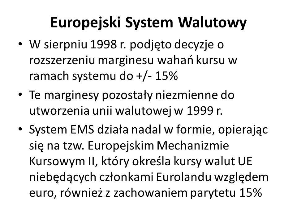 Europejski System Walutowy W sierpniu 1998 r. podjęto decyzje o rozszerzeniu marginesu wahań kursu w ramach systemu do +/- 15% Te marginesy pozostały