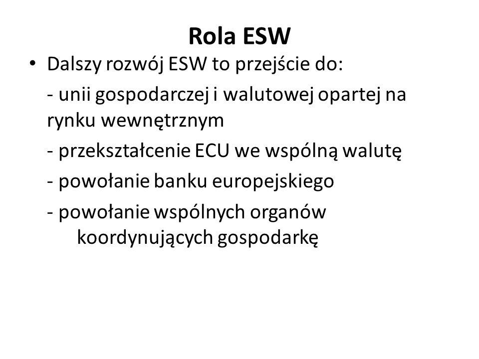 Rola ESW Dalszy rozwój ESW to przejście do: - unii gospodarczej i walutowej opartej na rynku wewnętrznym - przekształcenie ECU we wspólną walutę - pow