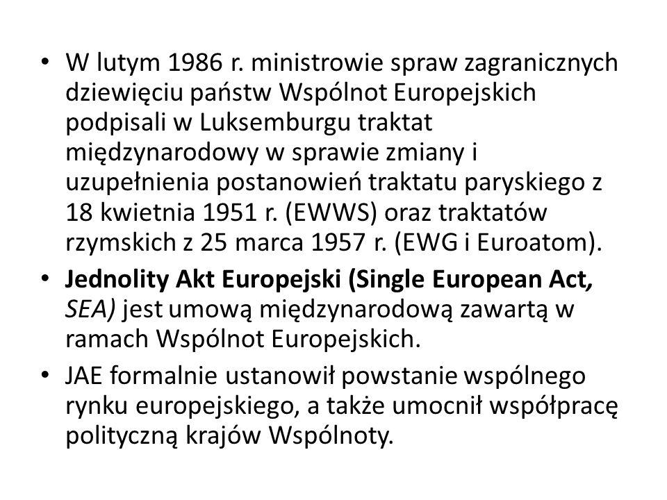 W lutym 1986 r. ministrowie spraw zagranicznych dziewięciu państw Wspólnot Europejskich podpisali w Luksemburgu traktat międzynarodowy w sprawie zmian