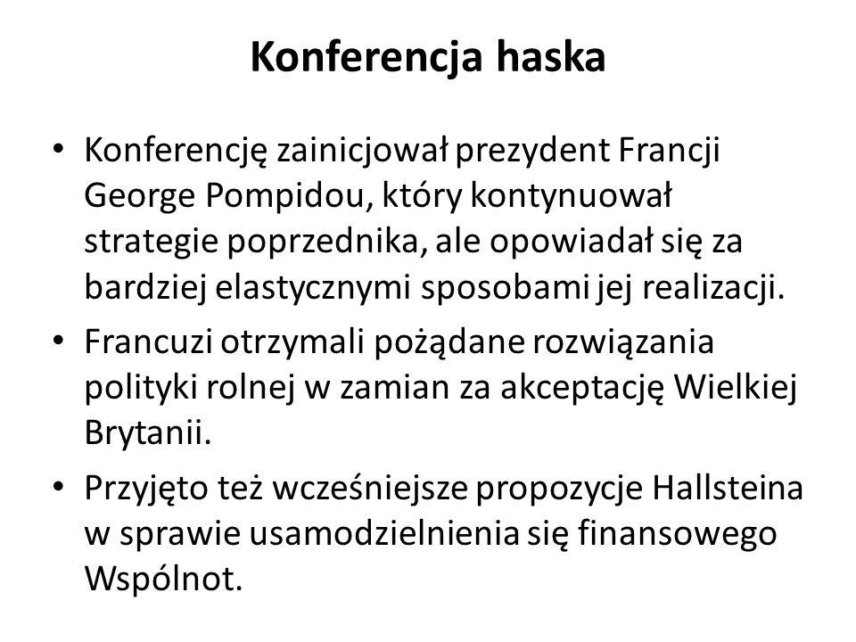 Konferencja haska Konferencję zainicjował prezydent Francji George Pompidou, który kontynuował strategie poprzednika, ale opowiadał się za bardziej el