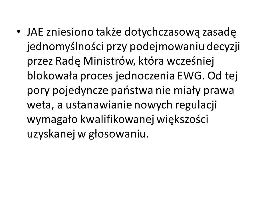 JAE zniesiono także dotychczasową zasadę jednomyślności przy podejmowaniu decyzji przez Radę Ministrów, która wcześniej blokowała proces jednoczenia E