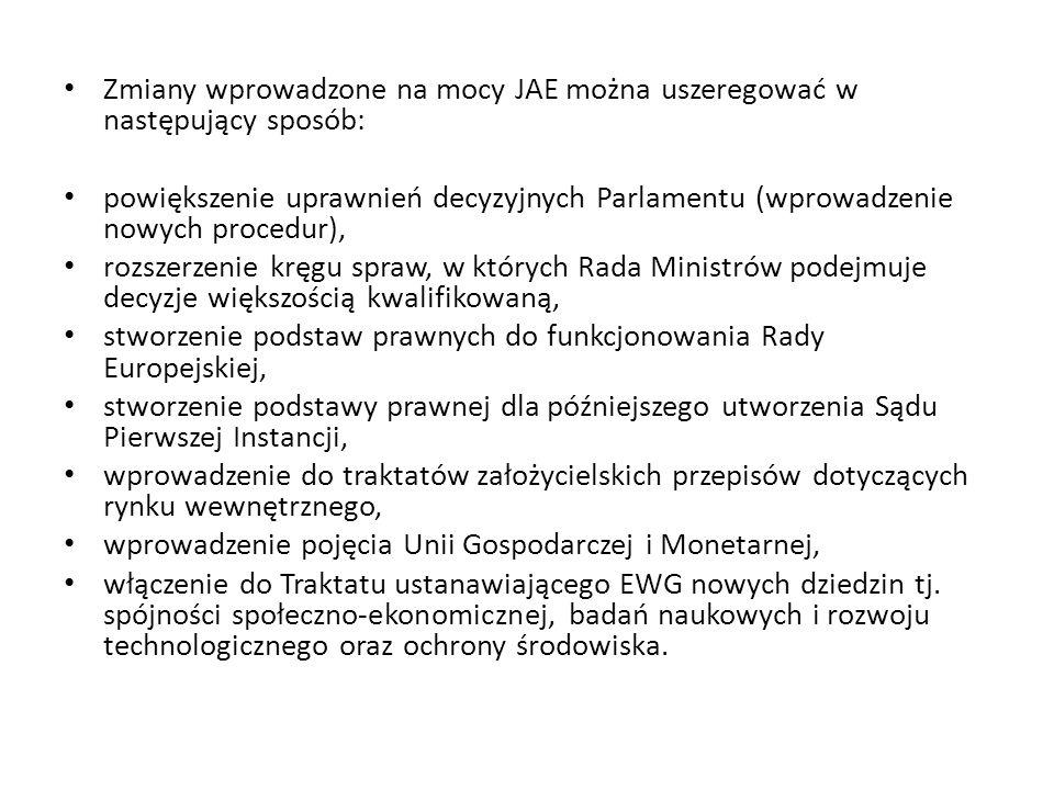 Zmiany wprowadzone na mocy JAE można uszeregować w następujący sposób: powiększenie uprawnień decyzyjnych Parlamentu (wprowadzenie nowych procedur), r