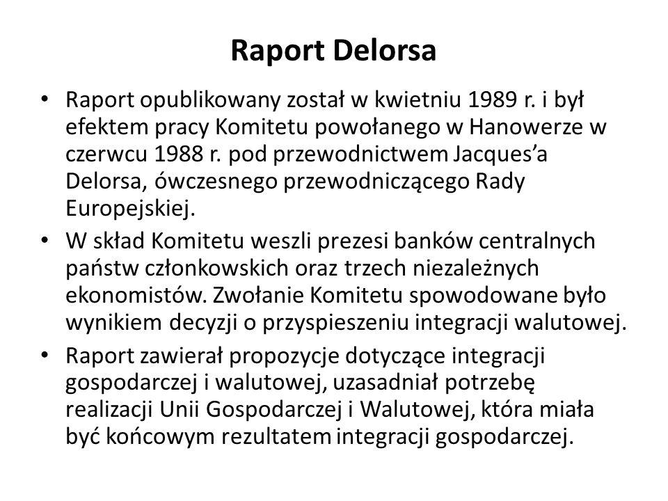 Raport Delorsa Raport opublikowany został w kwietniu 1989 r. i był efektem pracy Komitetu powołanego w Hanowerze w czerwcu 1988 r. pod przewodnictwem