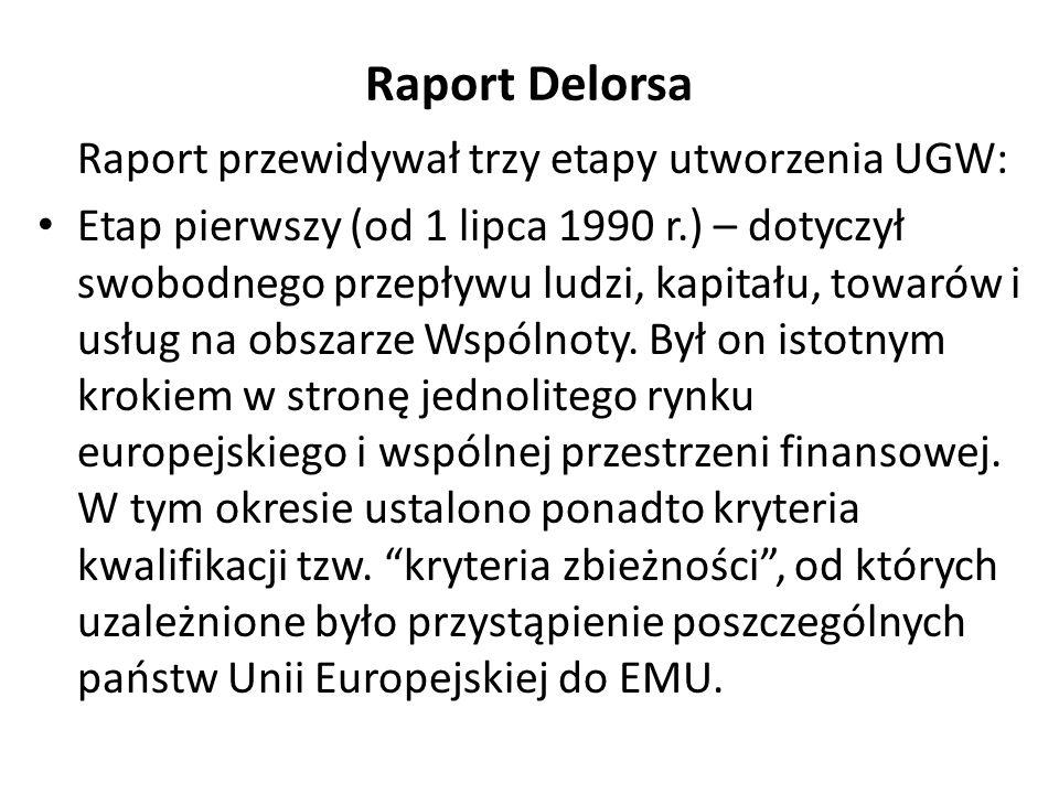 Raport Delorsa Raport przewidywał trzy etapy utworzenia UGW: Etap pierwszy (od 1 lipca 1990 r.) – dotyczył swobodnego przepływu ludzi, kapitału, towar