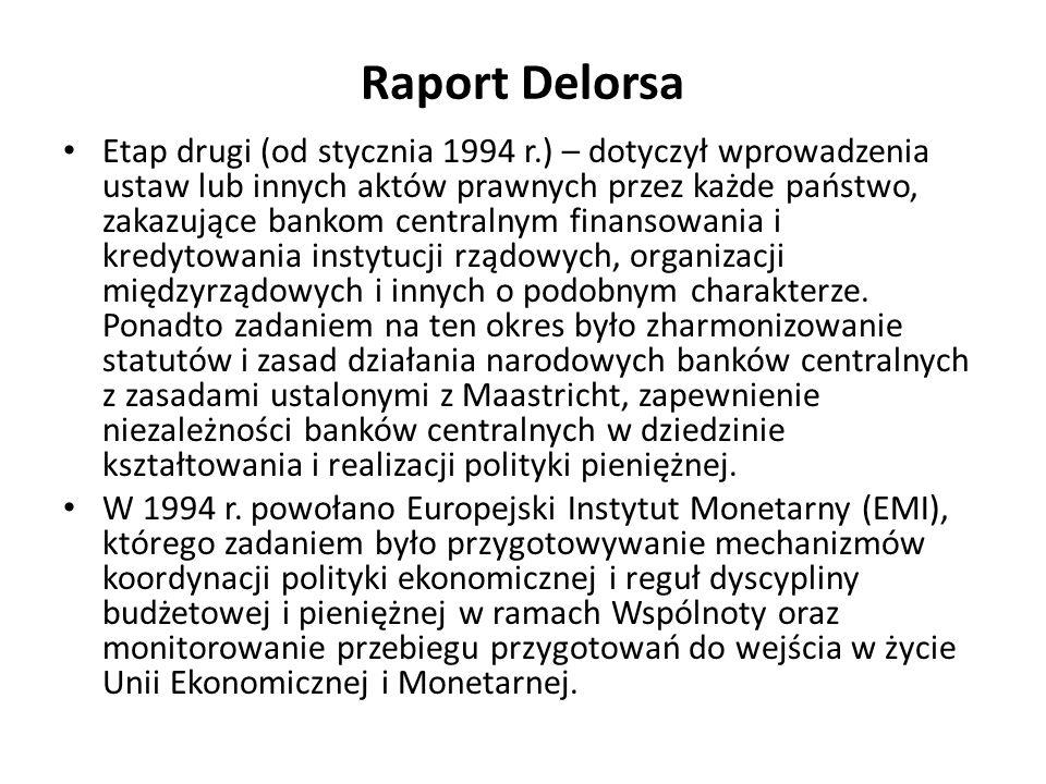 Raport Delorsa Etap drugi (od stycznia 1994 r.) – dotyczył wprowadzenia ustaw lub innych aktów prawnych przez każde państwo, zakazujące bankom central