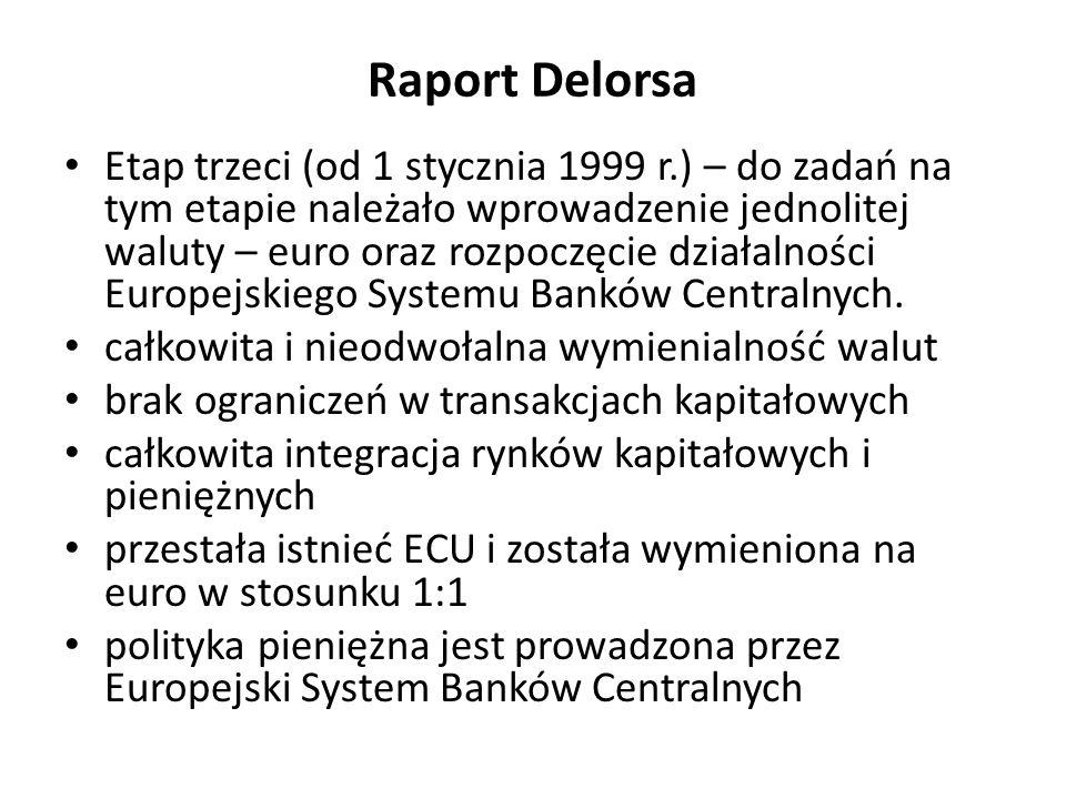 Raport Delorsa Etap trzeci (od 1 stycznia 1999 r.) – do zadań na tym etapie należało wprowadzenie jednolitej waluty – euro oraz rozpoczęcie działalnoś