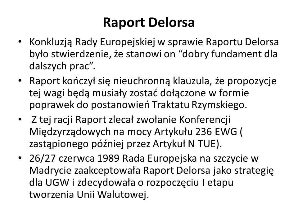 Raport Delorsa Konkluzją Rady Europejskiej w sprawie Raportu Delorsa było stwierdzenie, że stanowi on dobry fundament dla dalszych prac. Raport kończy