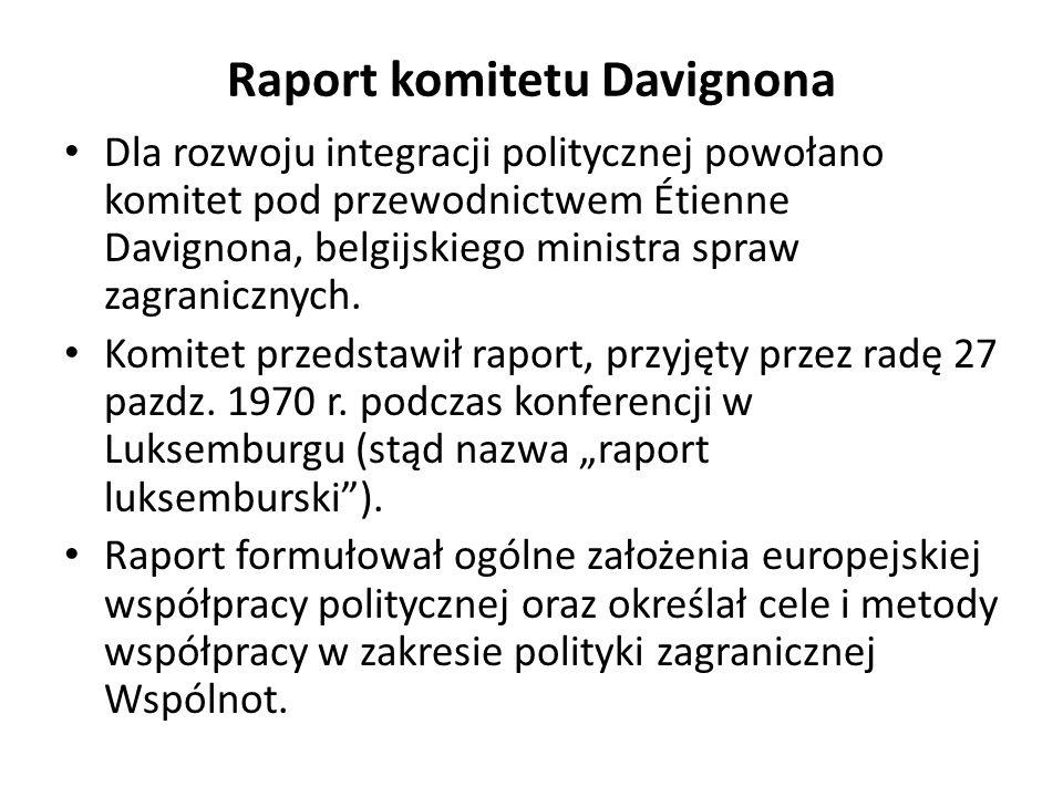 Propozycje raportu Leo Tindemansa (1975) Tindemans w swoim raporcie zaproponował szereg kolejnych kroków, włączając w nie: – wspólną politykę zagraniczną, – unię gospodarczą i walutową, – europejską politykę społeczną i regionalną, – połączoną politykę przemysłową związaną z rozwijającym się przemysłem, – politykę dotyczącą spraw obywateli WE oraz rzeczywiste wzmocnienie instytucji Wspólnoty.