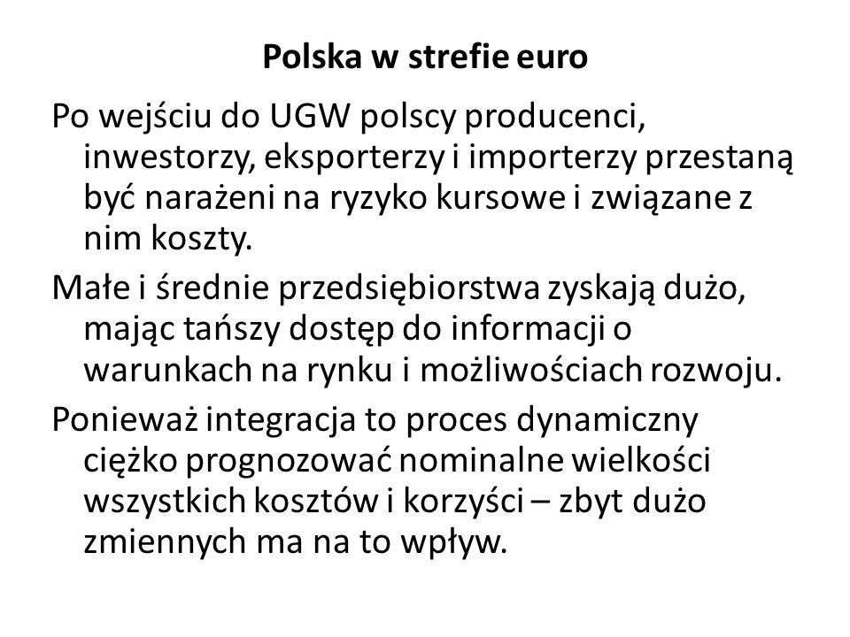 Polska w strefie euro Po wejściu do UGW polscy producenci, inwestorzy, eksporterzy i importerzy przestaną być narażeni na ryzyko kursowe i związane z nim koszty.