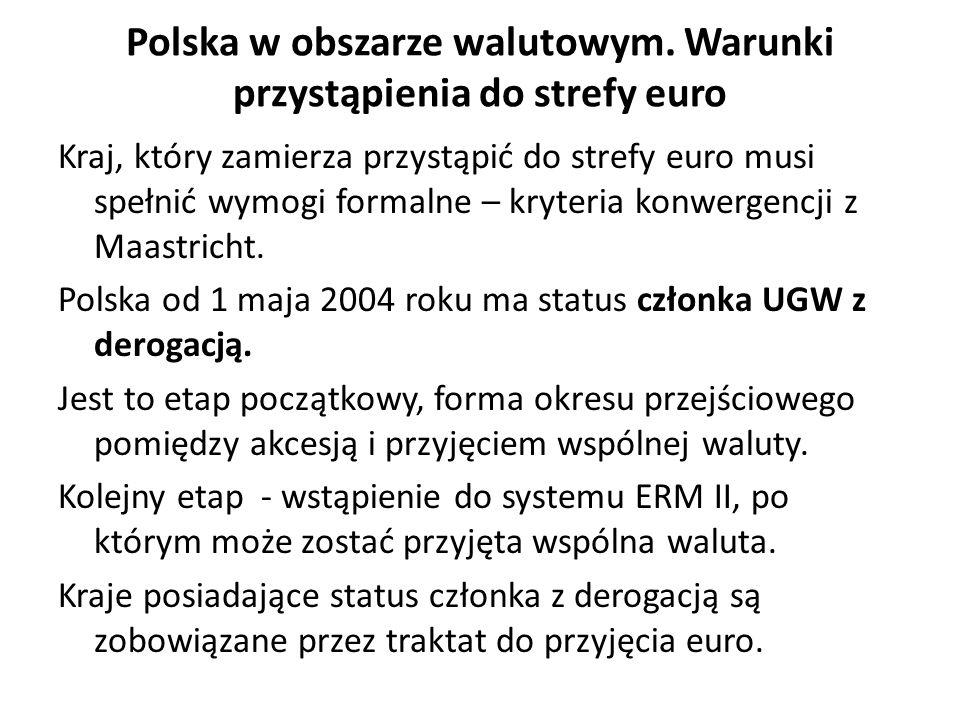 Ze względu na status kraju-kandydata do UGW, jedno z głównych wyzwań przed polską gospodarką – spełnienie makroekonomicznych kryteriów zawartych w Traktacie z Maastricht.