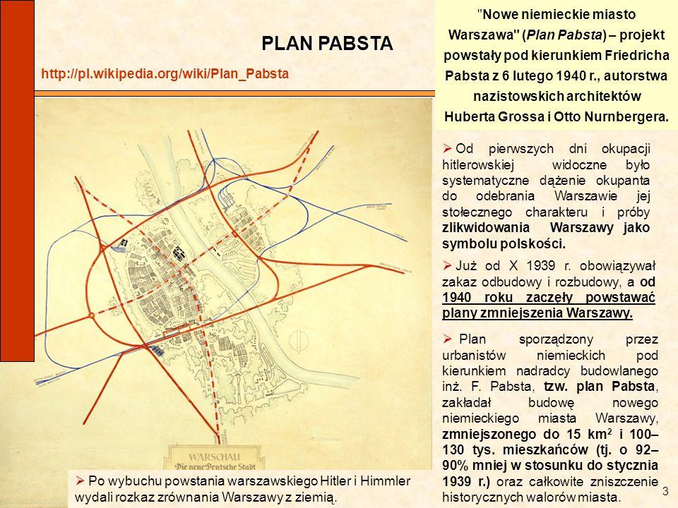 PLAN PABSTA Już od X 1939 r. obowiązywał zakaz odbudowy i rozbudowy, a od 1940 roku zaczęły powstawać plany zmniejszenia Warszawy. Po wybuchu powstani