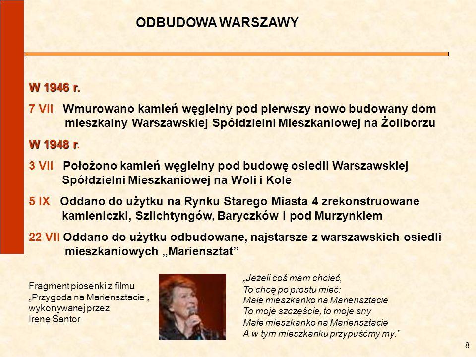 ODBUDOWA WARSZAWY 8 W 1946 r. 7 VII Wmurowano kamień węgielny pod pierwszy nowo budowany dom mieszkalny Warszawskiej Spółdzielni Mieszkaniowej na Żoli