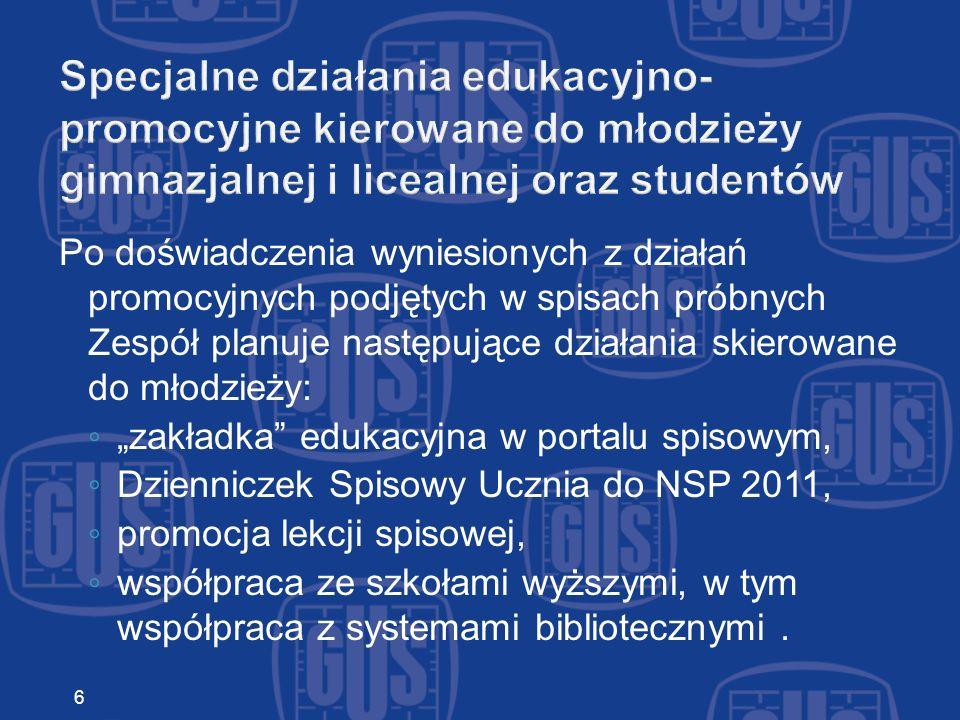 Działania promocyjne kierowane do odbiorców instytucjonalnych nawiązanie współpracy z: instytucjami publicznymi, organizacjami wyznaniowymi, społecznymi oraz stowarzyszeniami, współpraca z portalami urzędów wojewódzkich, współpraca z portalami urzędów gmin.