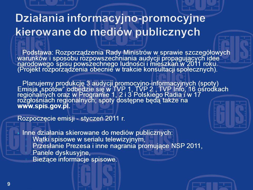 Podstawa: Rozporządzenia Rady Ministrów w sprawie szczegółowych warunków i sposobu rozpowszechniania audycji propagujących idee narodowego spisu powszechnego ludności i mieszkań w 2011 roku.