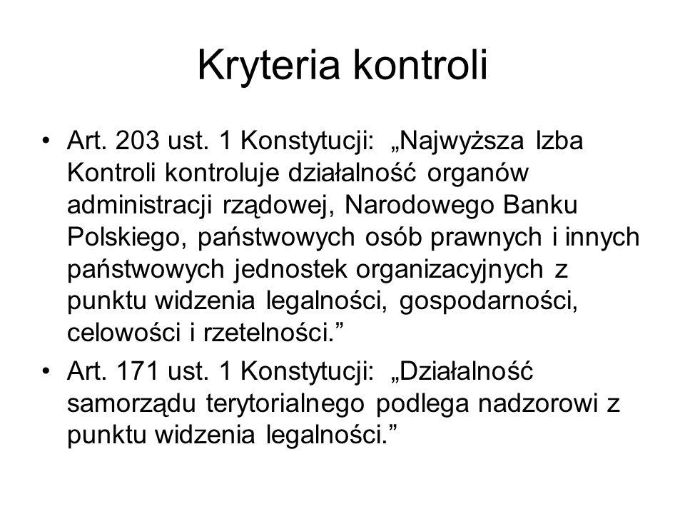 Kryteria kontroli Art. 203 ust. 1 Konstytucji: Najwyższa Izba Kontroli kontroluje działalność organów administracji rządowej, Narodowego Banku Polskie