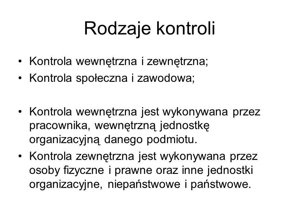 Rodzaje kontroli Kontrola wewnętrzna i zewnętrzna; Kontrola społeczna i zawodowa; Kontrola wewnętrzna jest wykonywana przez pracownika, wewnętrzną jed