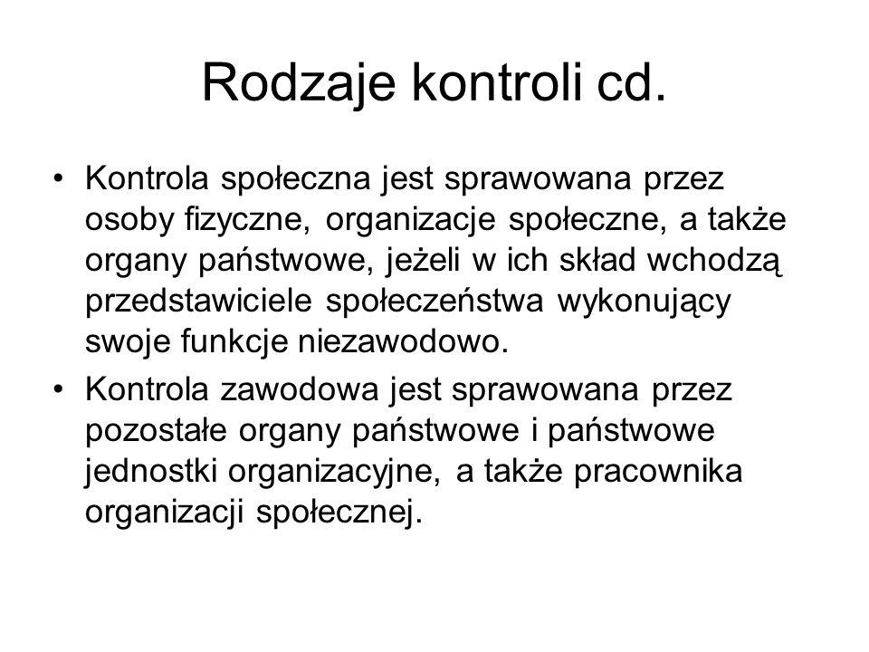 Rodzaje kontroli cd. Kontrola społeczna jest sprawowana przez osoby fizyczne, organizacje społeczne, a także organy państwowe, jeżeli w ich skład wcho