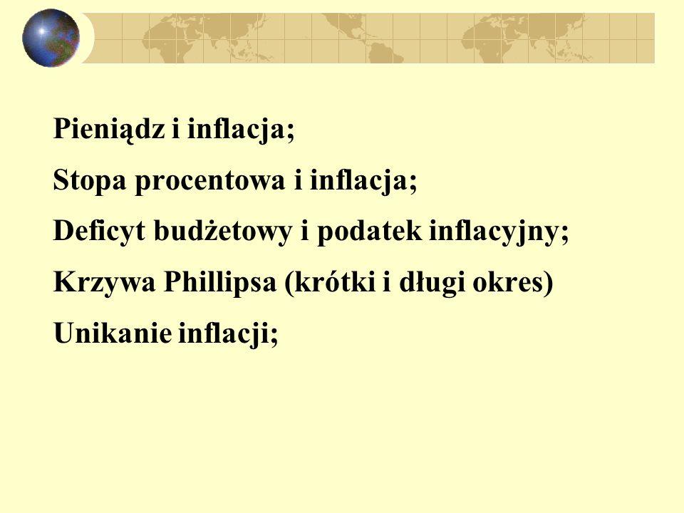 Pieniądz i inflacja; Stopa procentowa i inflacja; Deficyt budżetowy i podatek inflacyjny; Krzywa Phillipsa (krótki i długi okres) Unikanie inflacji;