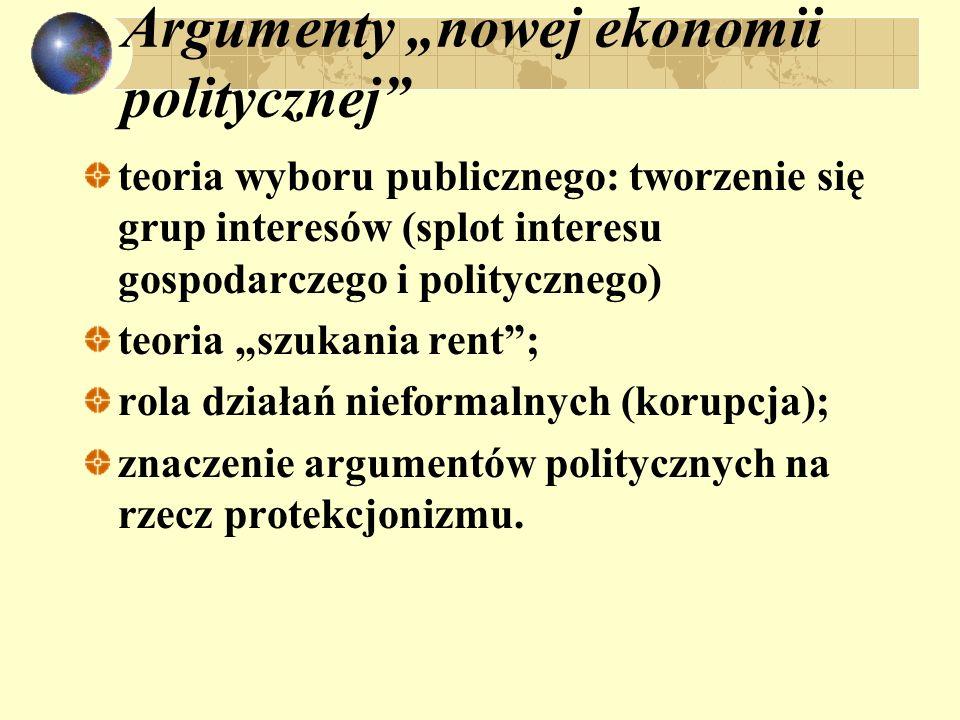 Argumenty nowej ekonomii politycznej teoria wyboru publicznego: tworzenie się grup interesów (splot interesu gospodarczego i politycznego) teoria szuk